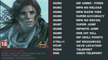 Rise of the Tomb Raider - 20 Year Celebration: Трейнер/Trainer (+12) [1.0: Build 767.2_64] {FutureX}