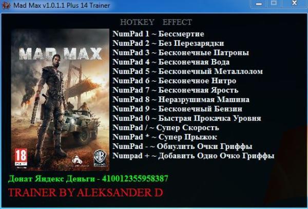 Mad Max Trainer cheat