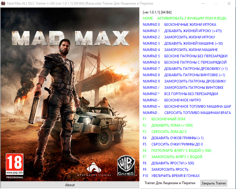 Mad max: трейнер/trainer (+12) [1. 0] {fling} читы чит коды.