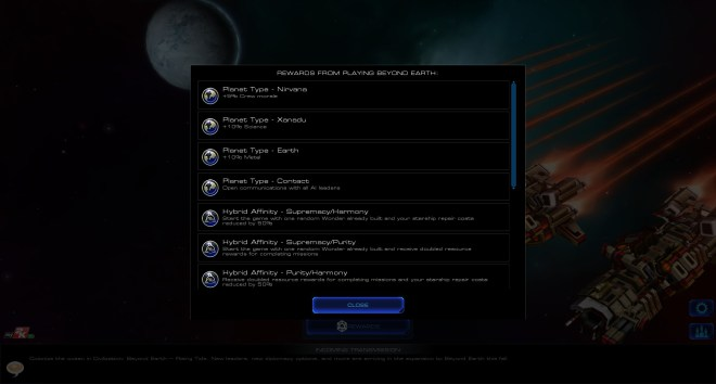 Sid Meier's Starships reward list
