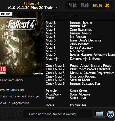 Fallout 4 game trainer v1. 0 v1. 7. 22 +20 trainer download.