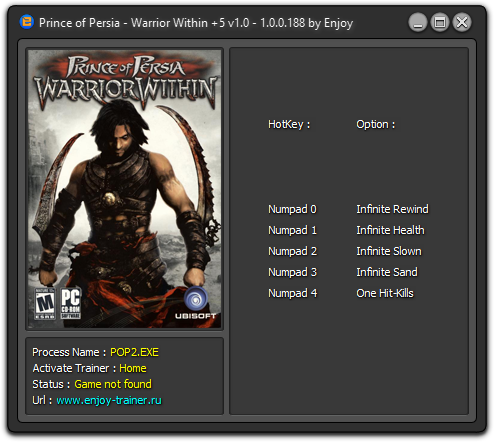 Prince of persia game trainers: prince of persia warrior within +4.