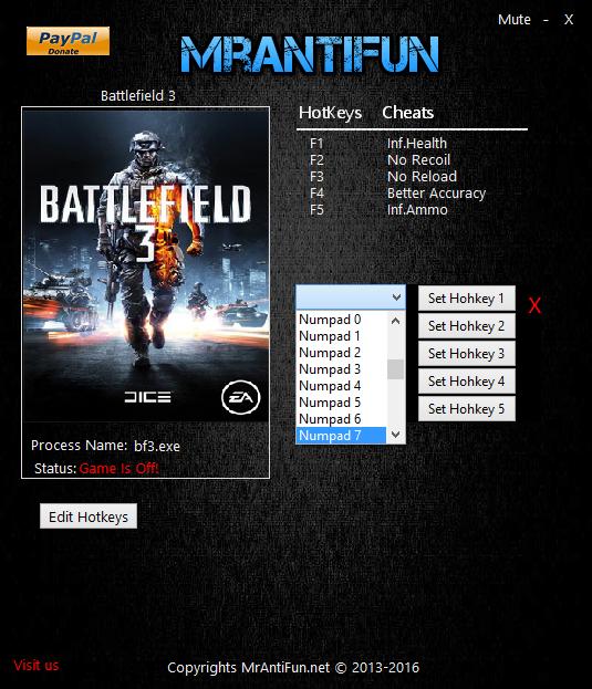 Battlefield 3: Трейнер/Trainer (+5) [2 13 2016] {MrAntiFun
