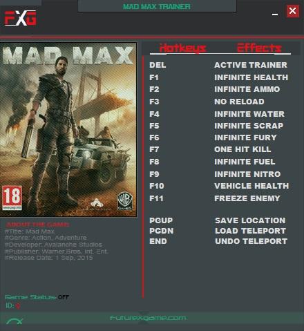 Mad max: трейнер/trainer (+12) [1. 0. 3. 0] {futurex} читы чит.