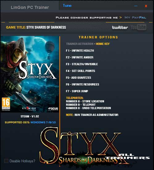 Screenshot for trainer Styx SoD
