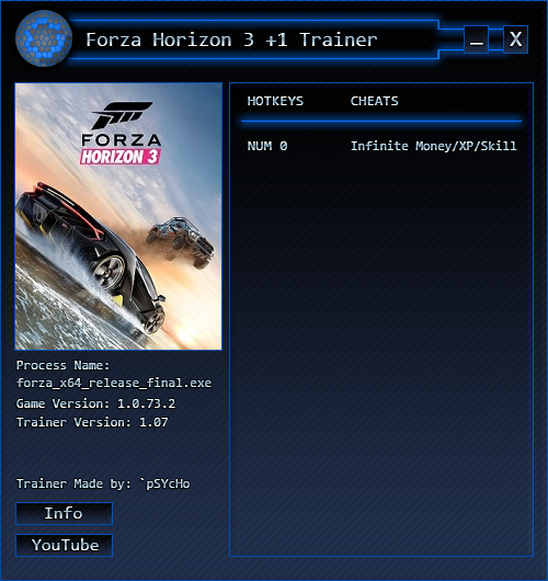 Forza Horizon 3: Трейнер/Trainer (+3) [Money/XP/Skill