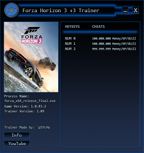 Forza Horizon 3: Трейнер/Trainer (+3) [Money/XP/Skill