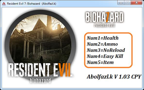 Resident Evil 7 : Трейнер/Trainer (+5) [1 03] {Abolfazl k