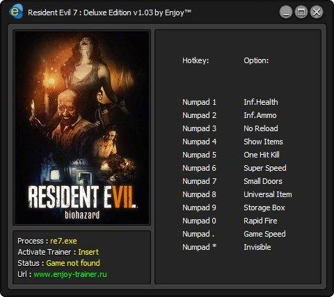Resident Evil 7 - Deluxe Edition: Trainer/Трейнер (+12) [v1