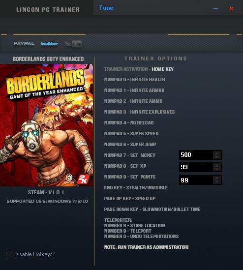 Borderlands - Game of the Year Enhanced: Трейнер/Trainer (+