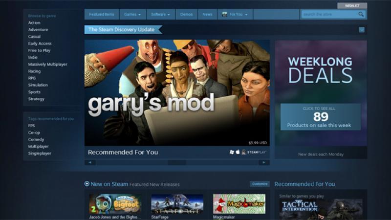 Обновленная главная страница Steam делает упор на исследования и персонализацию