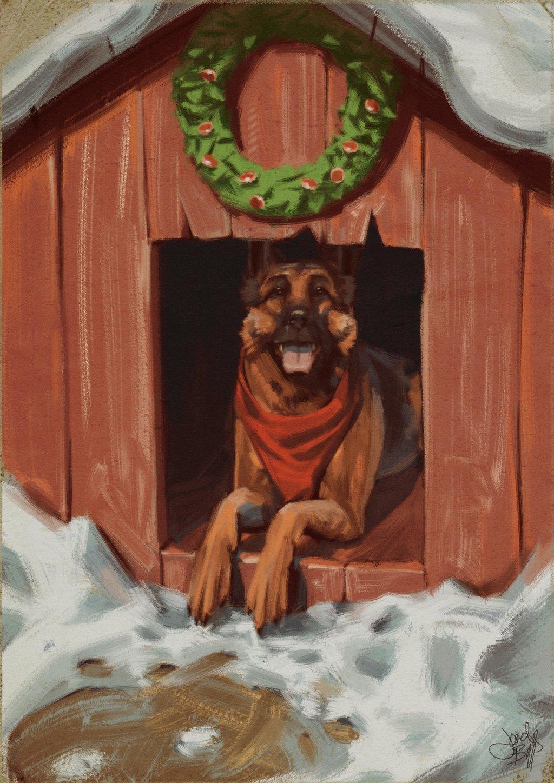 seasons_greetings_from_dogmeat_by_cyberworm360-d9iiagc.jpg - - Собака