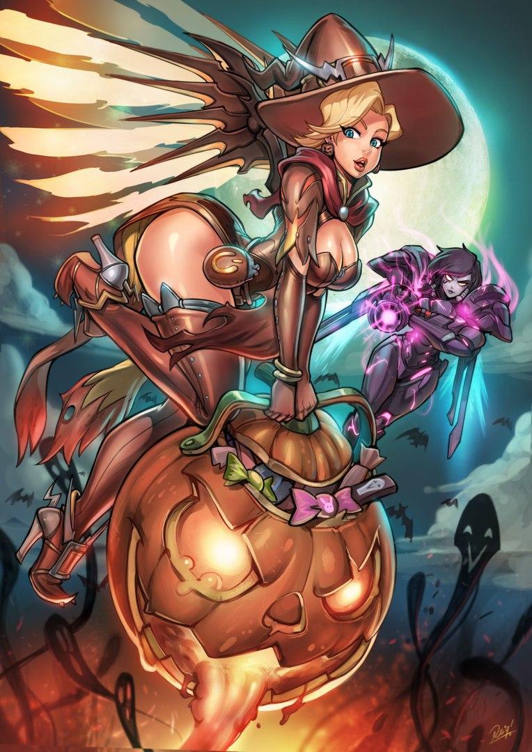 BJ-fI0dicFk.jpg - Overwatch Ангел, Хеллоуин
