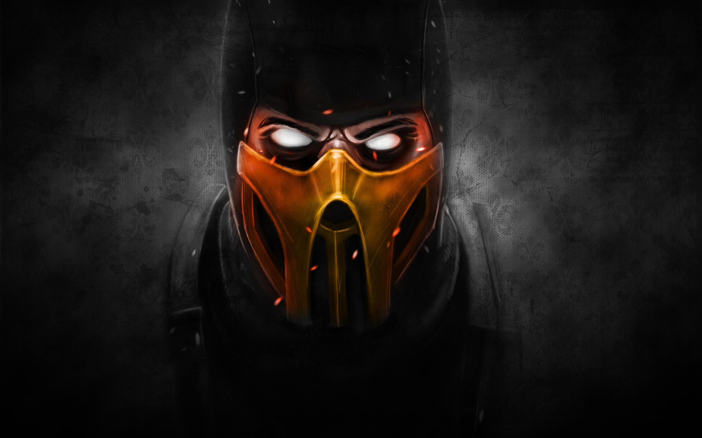 ниндзя - Mortal Kombat X скорпион, темный фон
