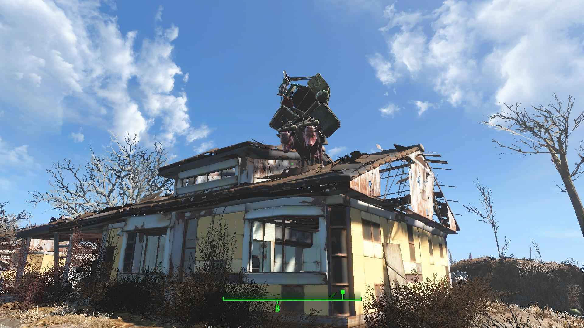Брамин на крыше - Fallout 4 Брамин