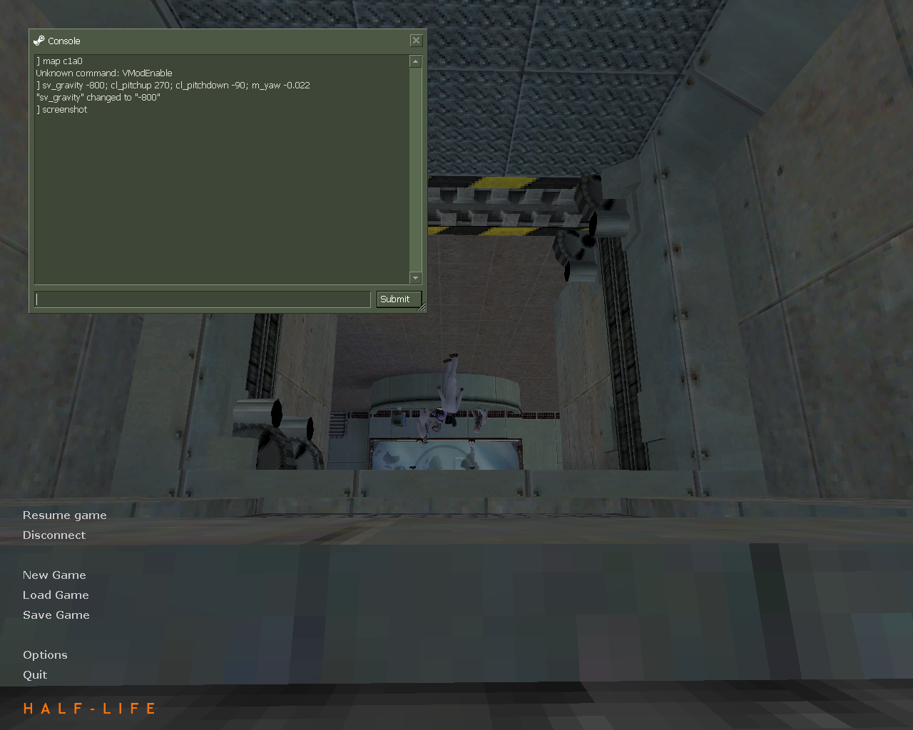 sv_gravity -800; cl_pitchup 270; cl_pitchdown -90; m_yaw -0.022 - Half-Life