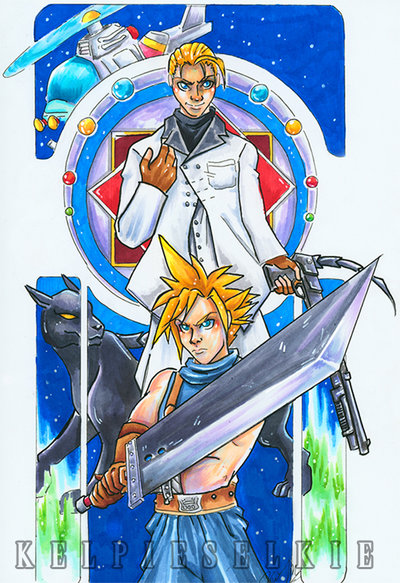cloud_fight_by_kelpieselkie-d89fe7q.jpg - Final Fantasy 7 Buster Sword, Cloud Strife, materia, Rufus