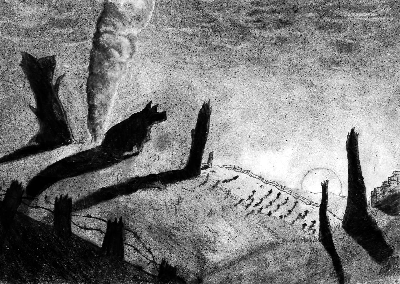 Рисунок - Valiant Hearts: The Great War карандаш, собака