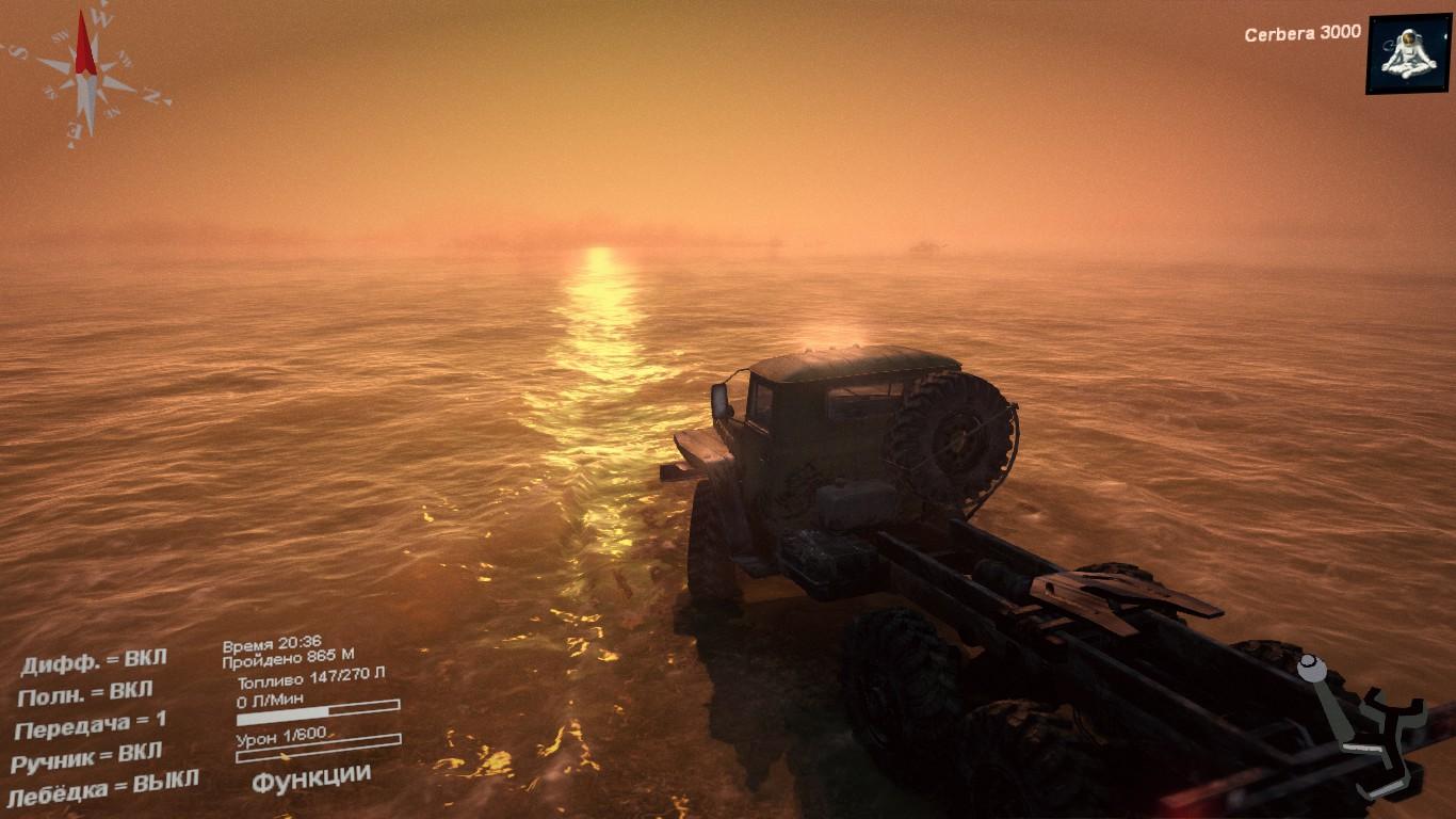 В закат - Spintires брод, грязь, Транспорт, урал