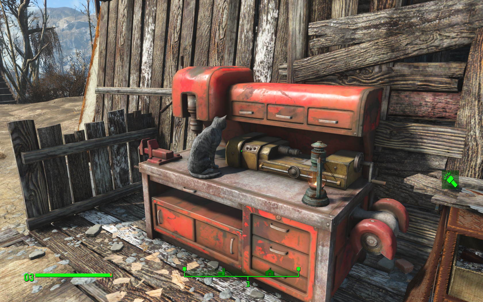 Киса на мастерской (Ферма Эбернети) - Fallout 4 Кошка, Ферма, Эбернети