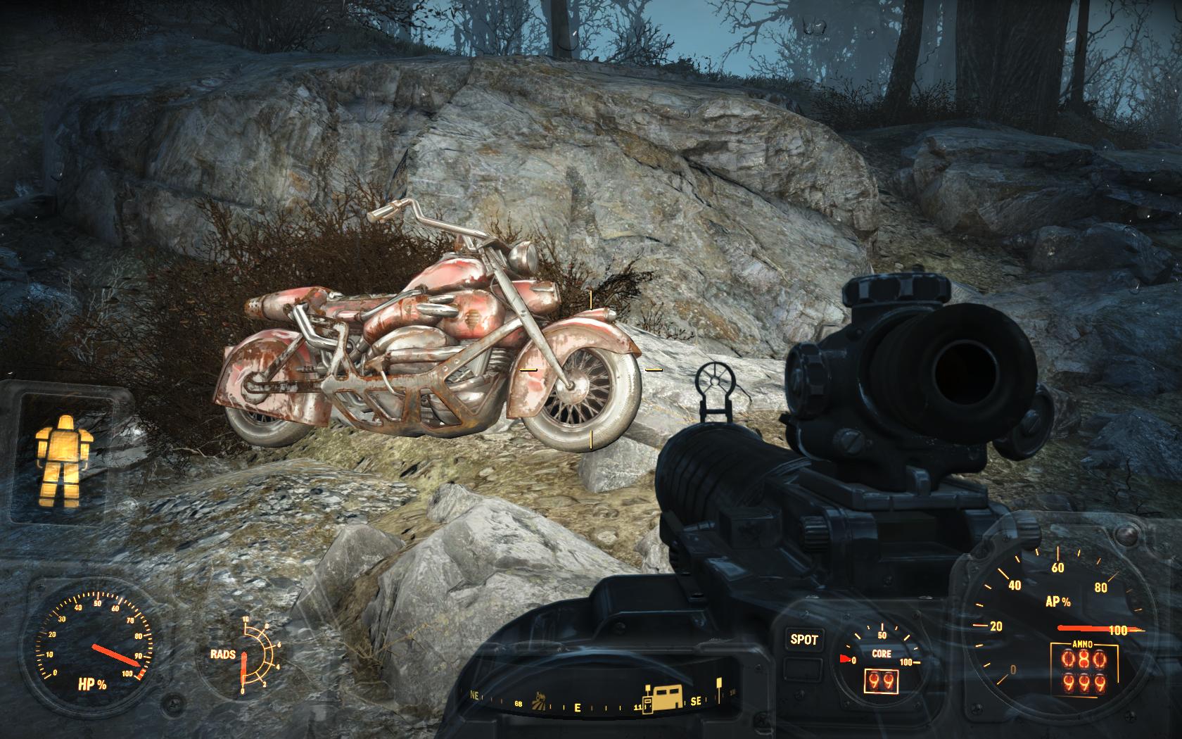 Никому не нужный целый мотоцикл. А сколько там ценных компонентов! (Теплица Гринтоп) - Fallout 4 Гринтоп, мотоцикл, Теплица
