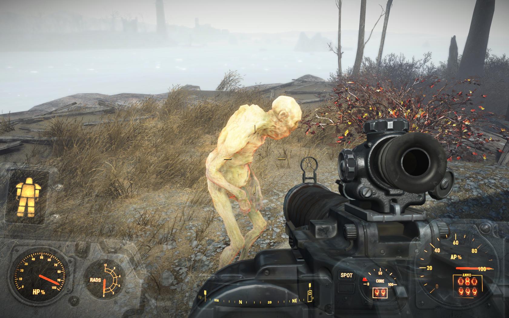 Гуль о чём-то о своём задумался, игнорирует меня (Особняк семьи Крупов) - Fallout 4 Баг