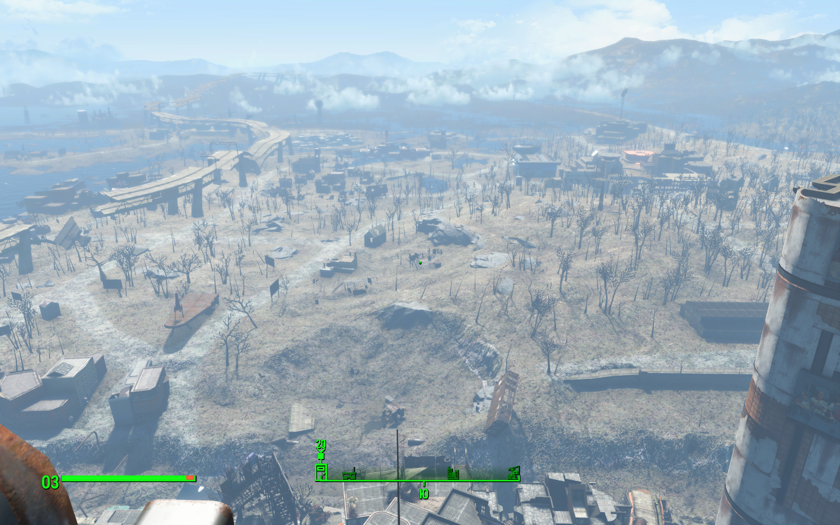 Тринити-тауэр - Вид с вершины - Юг - Fallout 4 Панорама, тауэр, Тринити, Тринити-тауэр