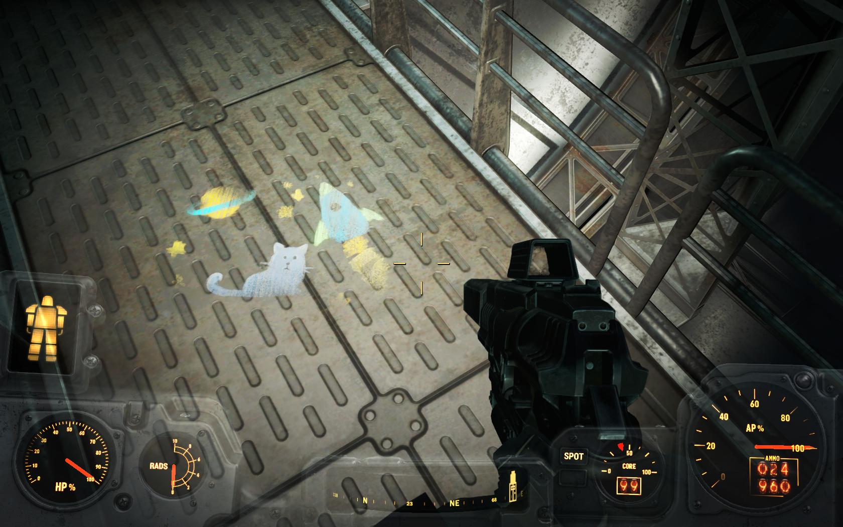 Детский рисунок на полу (Дирижабль Придвен) - Fallout 4 Дирижабль, Придвен