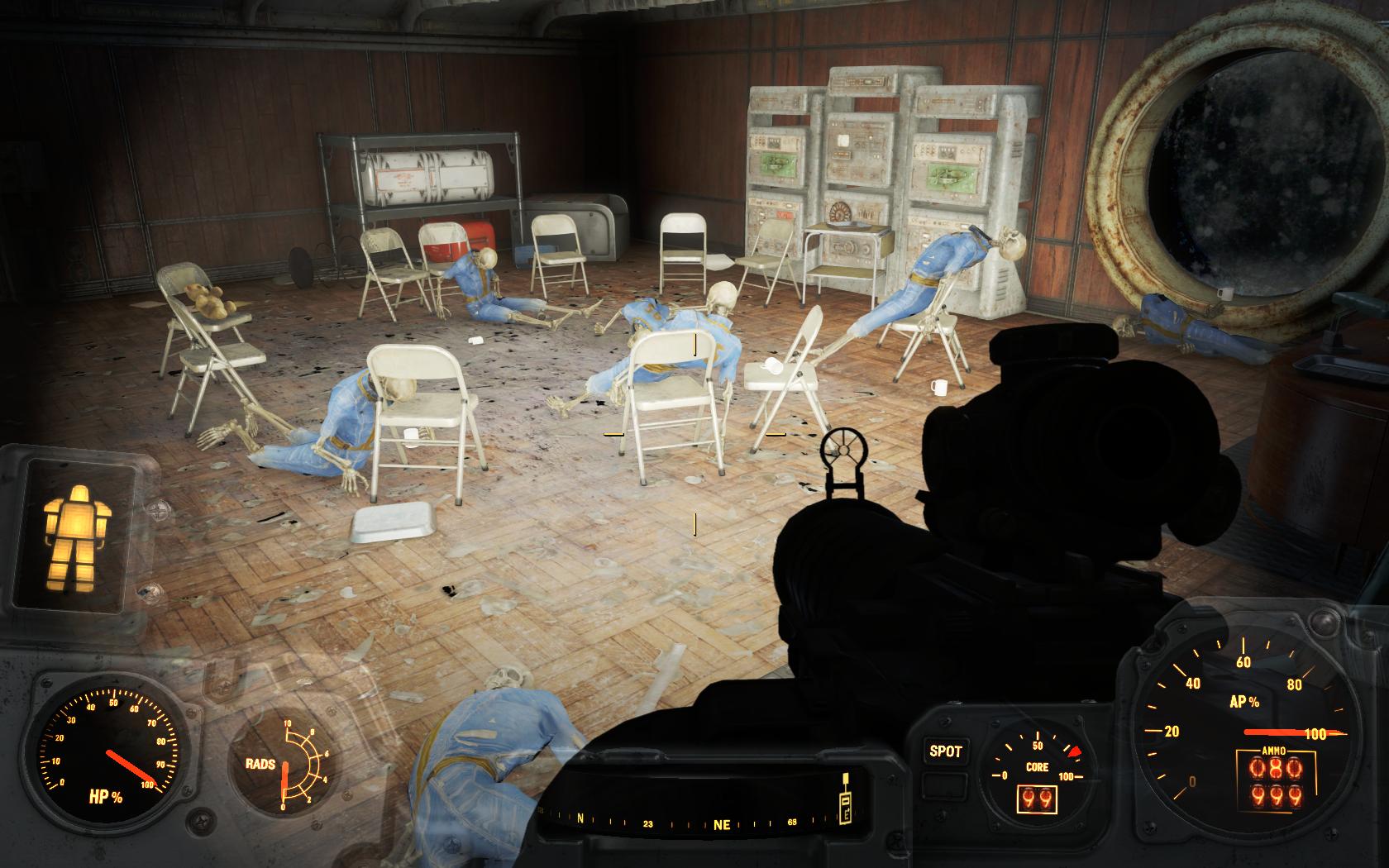 Бойня - Выжил только мишка (Убежище 95) - Fallout 4 Скелет, Убежище, Убежище 95