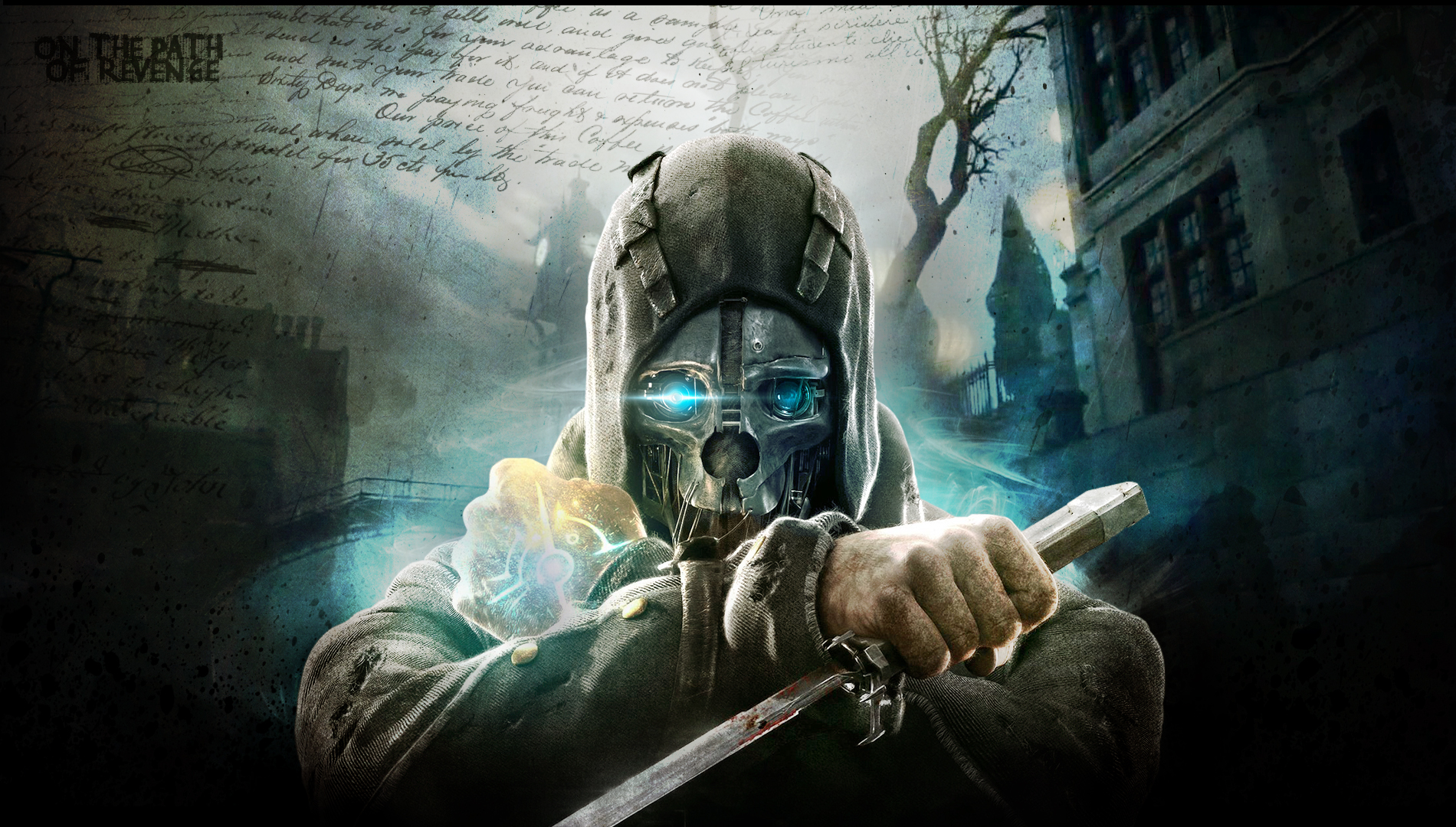 dishonored-warrior-sci-fi-futuristic-mask-weapons-knife-text-wallpaper-1.jpg - Dishonored игра Dishonored