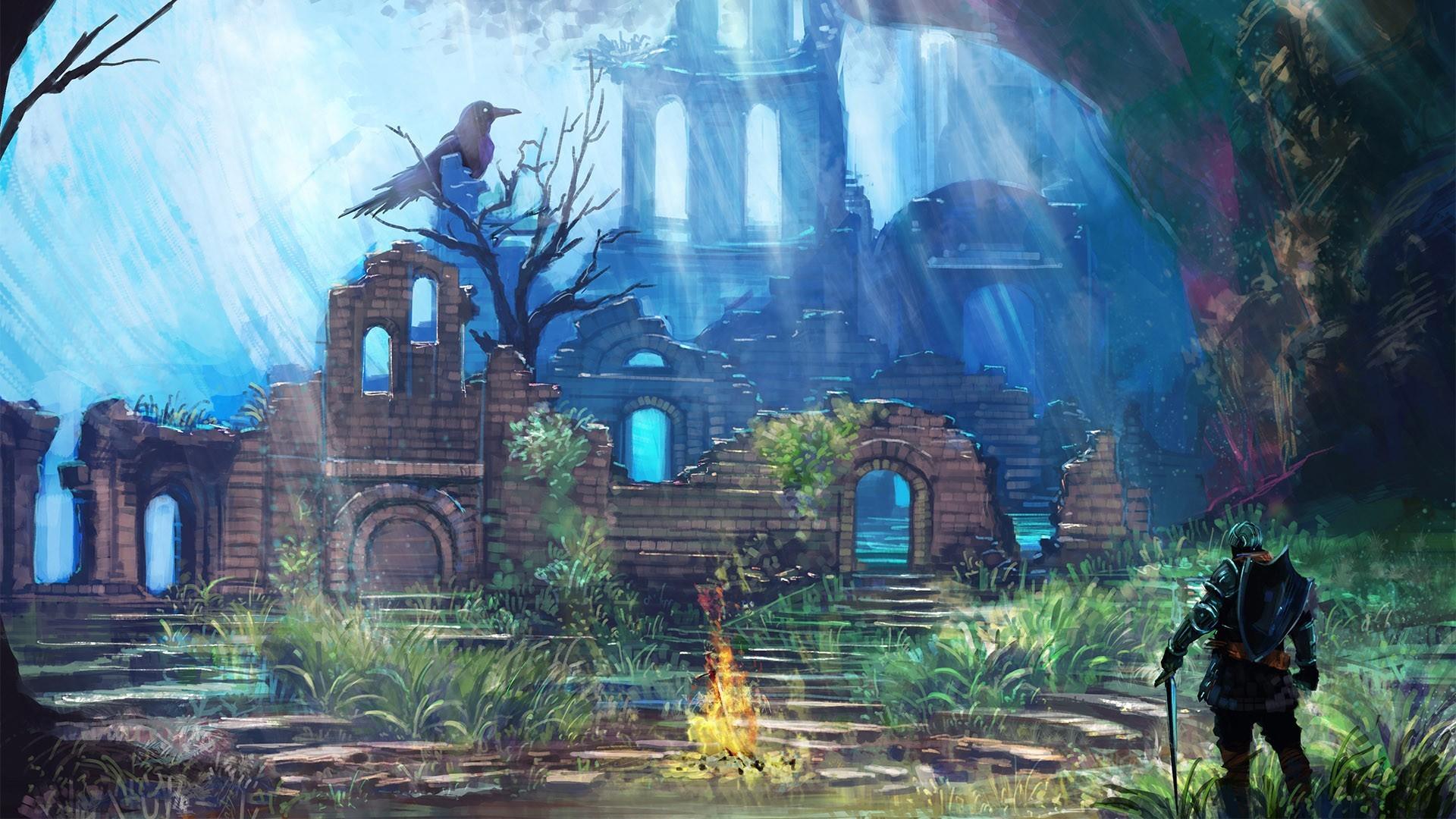 493639.jpg - Dark Souls Арториас Путник Бездны, Гвин, Гвин, Повелитель Пепла, Костер, Нежить, Нит, Нито Повелитель Могил, Пепел, Путник бездны, Темные души
