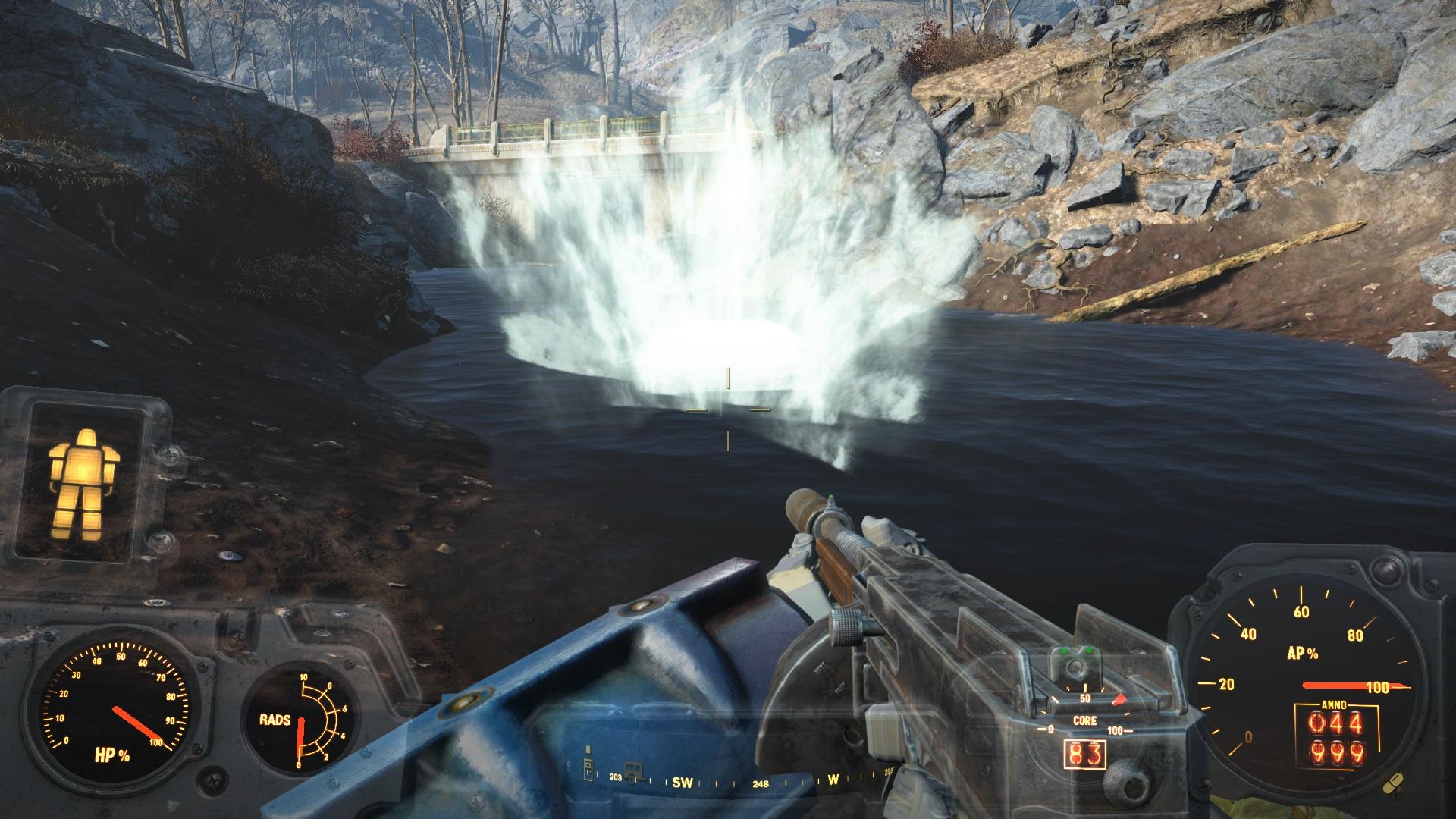 1 пуля - и такой эффект! - Fallout 4 автоматическое оружие, жми и молись, фонтанчик