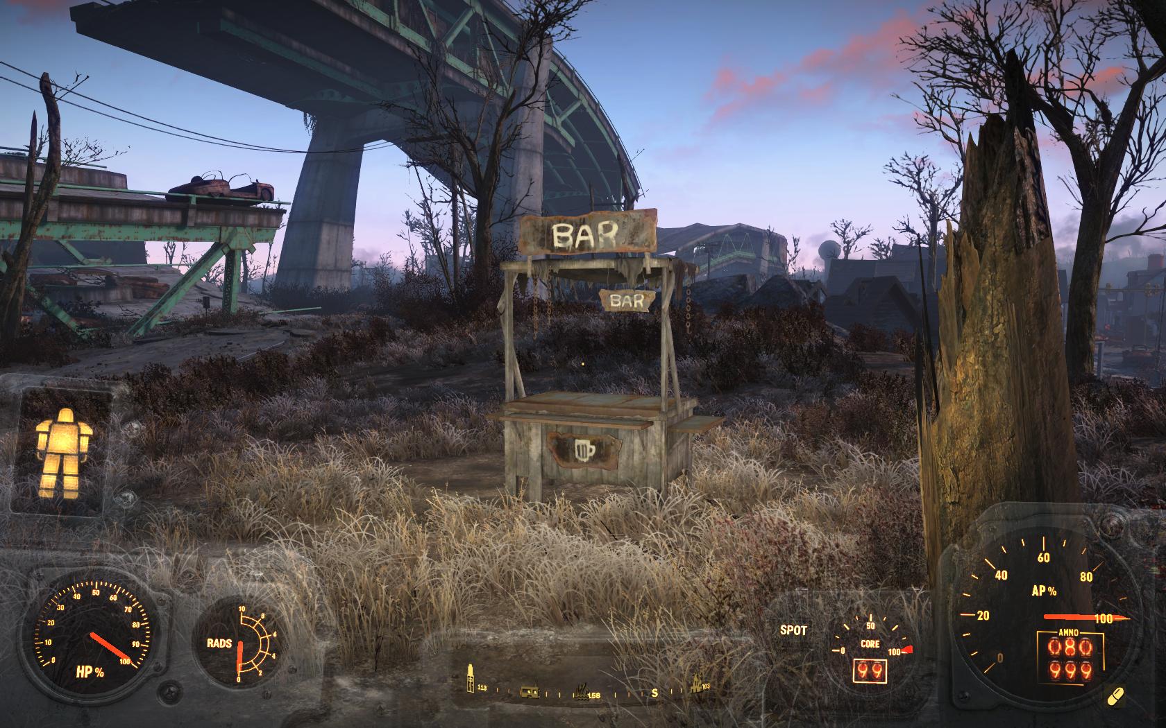 Одинокий бар в неожиданном месте (севернее Джамейки-Плейн) - Fallout 4 бар, Джамейка-Плейн