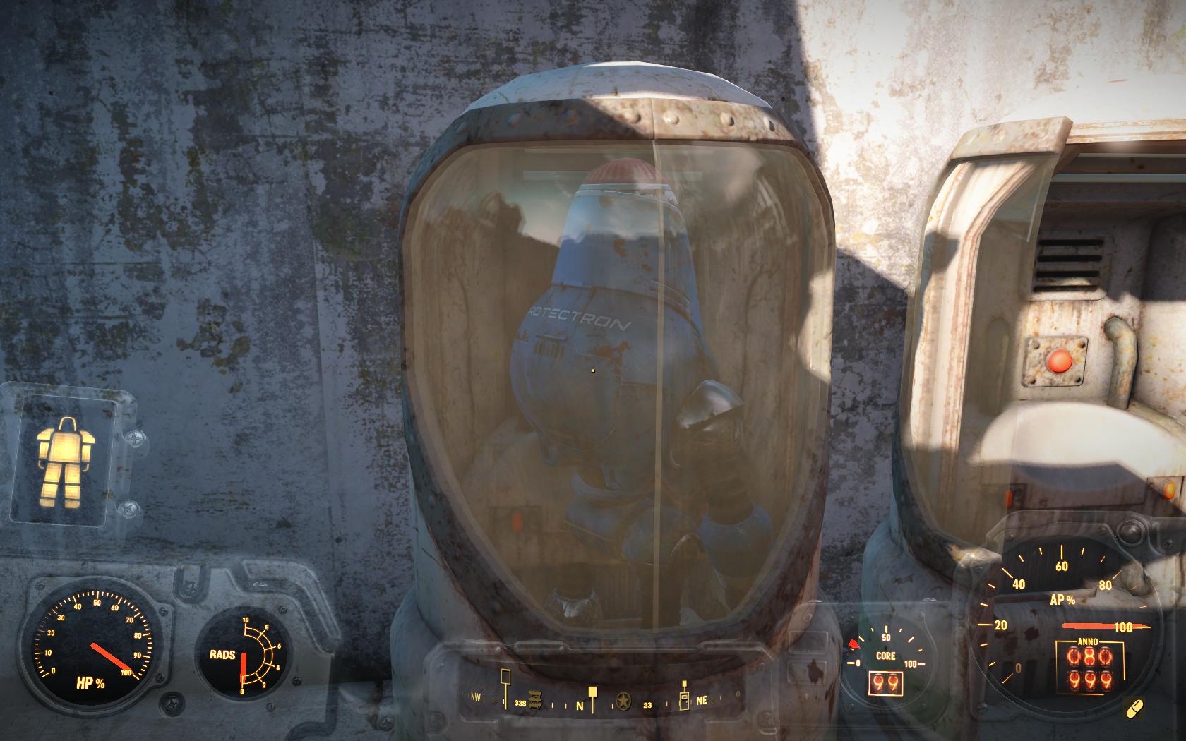 Протектрон повернулся - решил разнообразить свою жизнь (здание около Джамейки-Плейн) - Fallout 4 Баг, Джамейки-Плейн, Протектрон