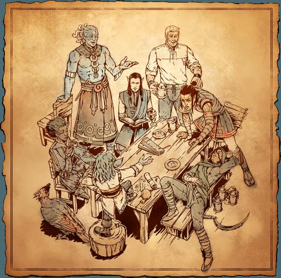 Застолье - Pillars of Eternity 2: Deadfire арт, герои, спутники, таверна, твоякоманда