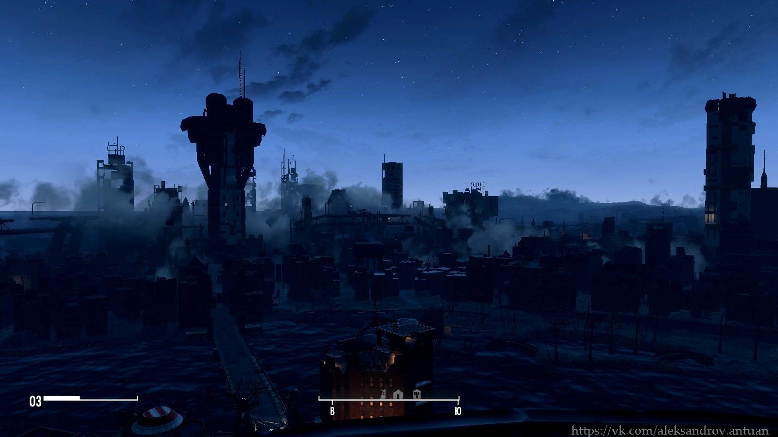 Вид на Бостон с высоты птичьего полёта. Ну или, с высоты виадука. :-) - Fallout 4 Бостон, виадук