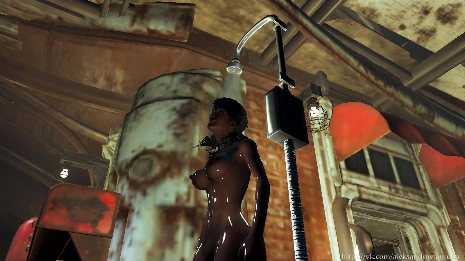 """Душ по пути в """"Райские кущи"""". Заправка Красная ракета, Остров. - Fallout 4 CWSS Redux, Остров"""