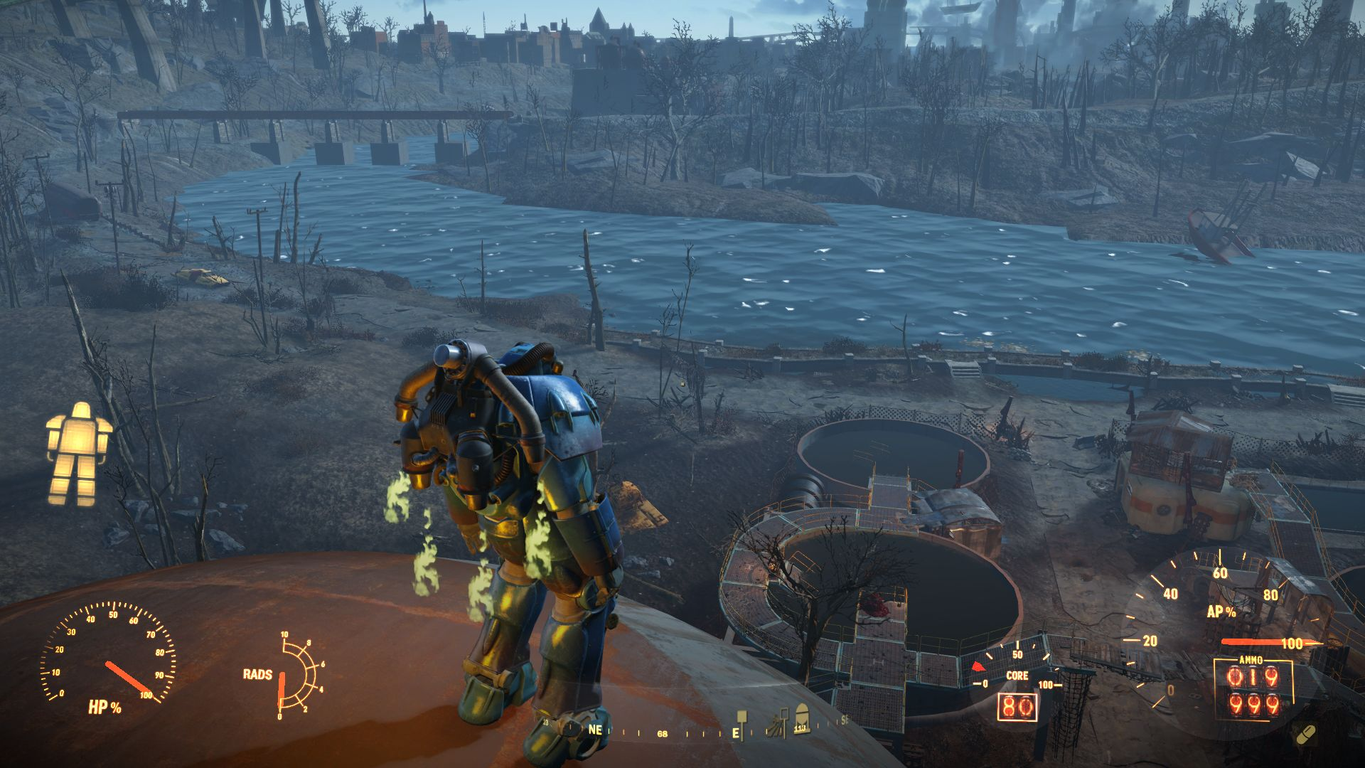 Прекрасный вид, сопла горят, героиня смотрит вдаль :) - Fallout 4 баг, высота, героиня, Квант, красивый вид, ранец для полетов, силовая броня, содружество