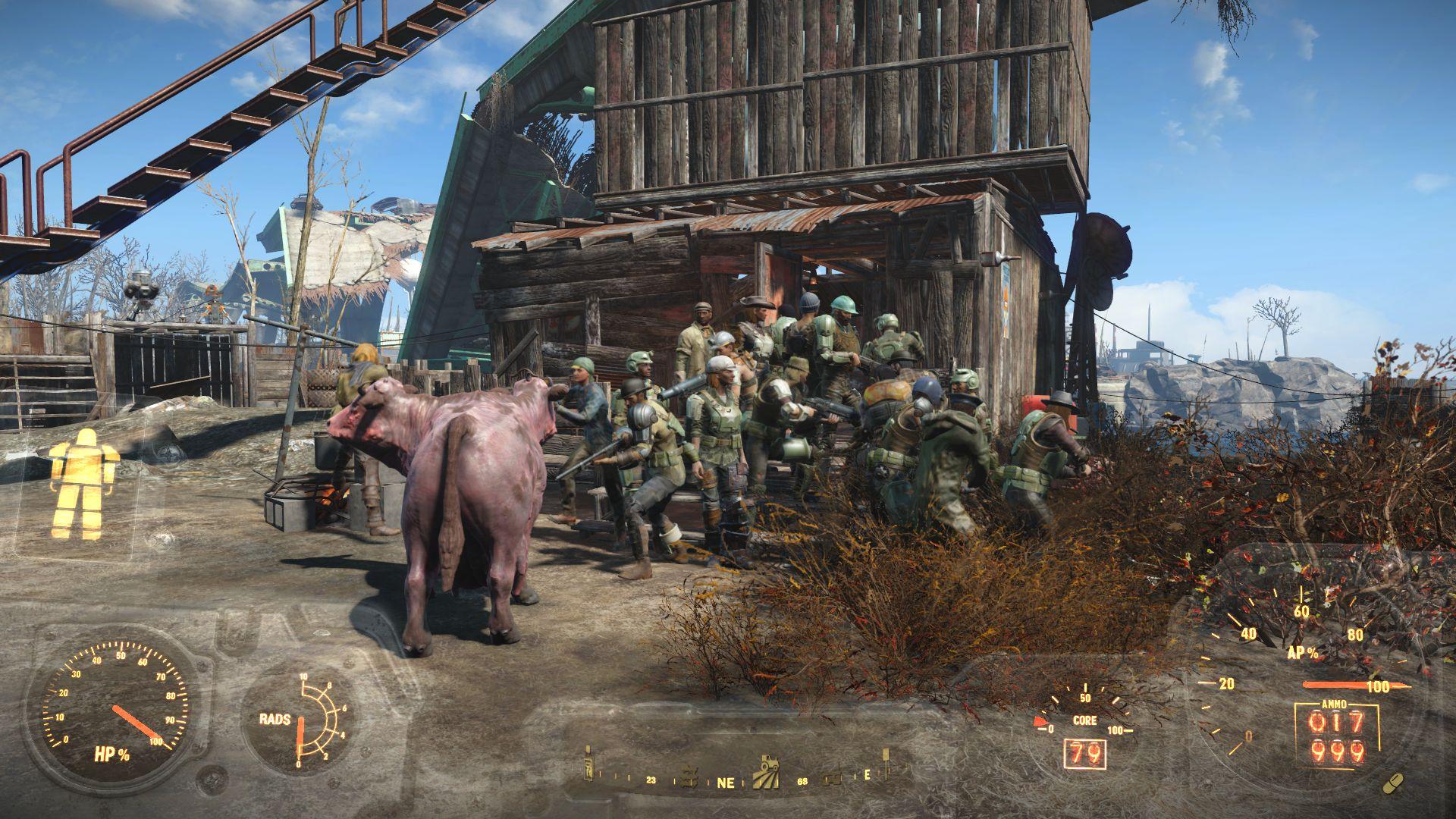 Защита дома идет успешно :) - Fallout 4 брамин, защита, поселенцы, Ферма Финча