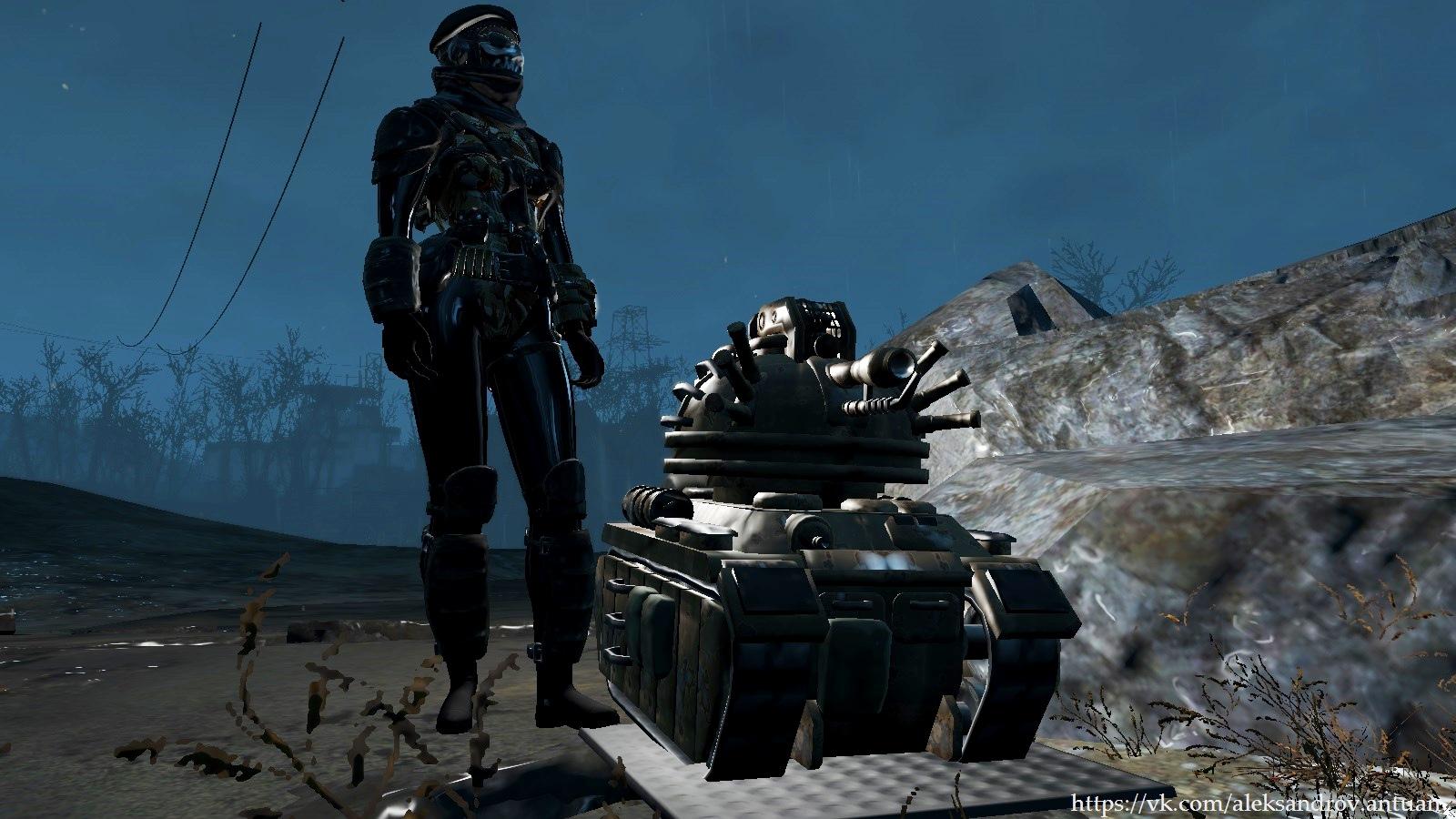Огнемётный танк-робот на боевом посту ... - Fallout 4 automatron_sd_tank, огнемётный танк, танк-робот