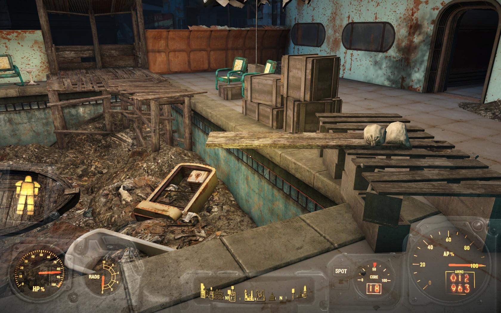 Трамплин для прыжков в мусорный бассейн (Отель Харбормастер) - Fallout 4 Отель, Харбормастер