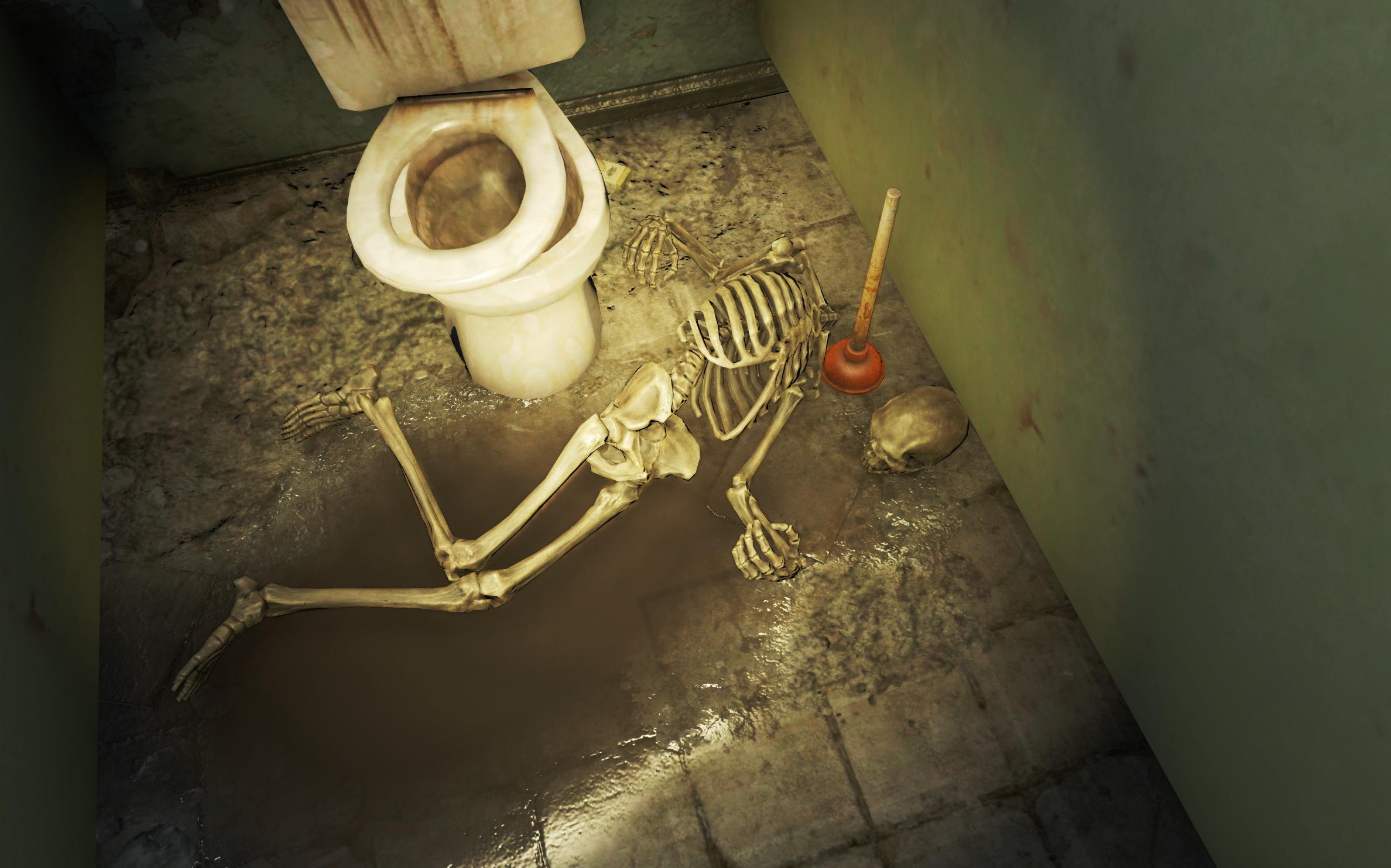 Убили вантузом (школа в Южном Бостоне) - Fallout 4 вантуз, Скелет, школа, школа в Южном Бостоне, Южный Бостон