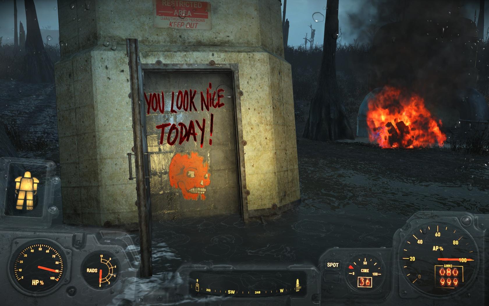 You look nice today! (северо-западнее Стройплощадки в Мерквотер) - Fallout 4 Мерквотер, Стройплощадка