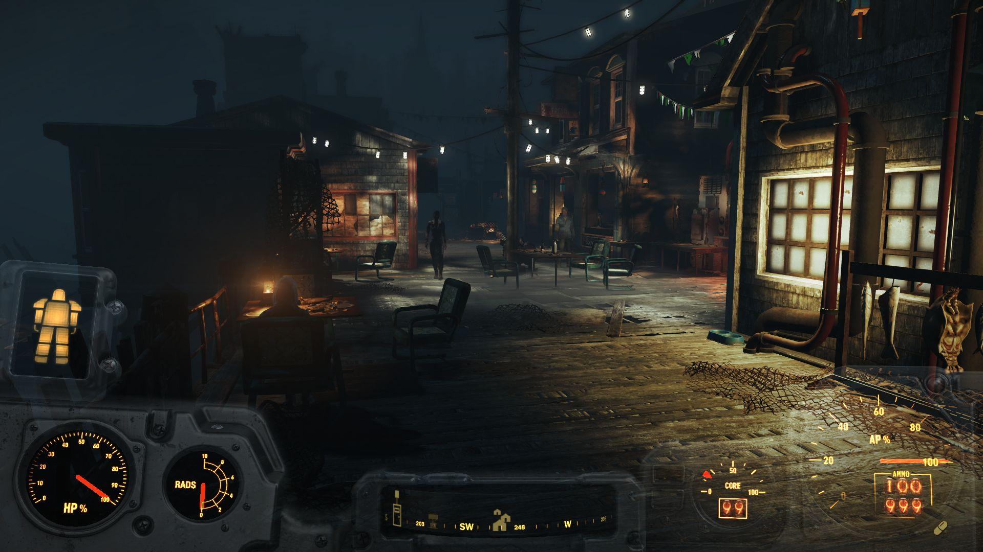 Пристань Фар-Харбор ночью - Fallout 4 остров, пристань