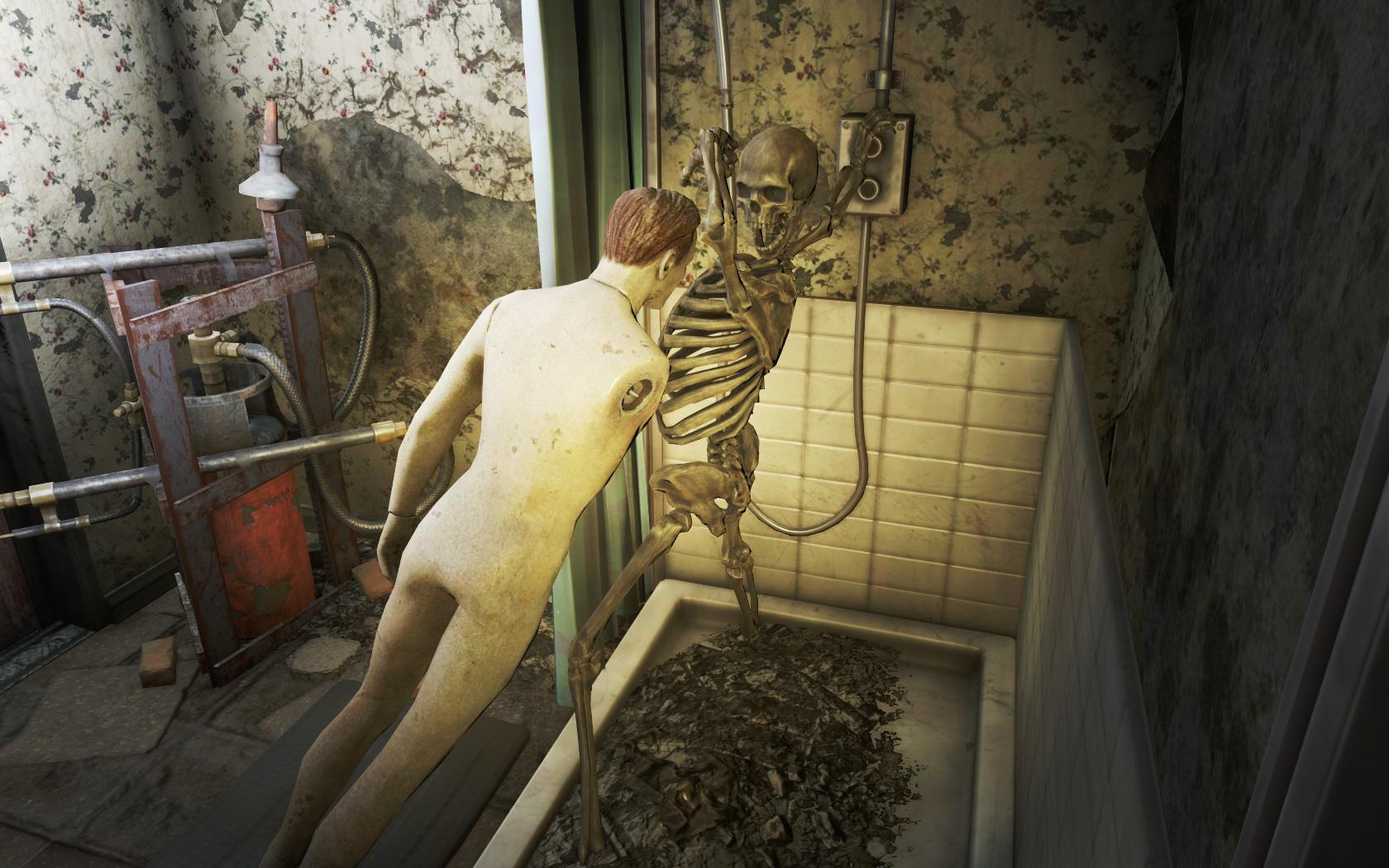 Душевая (Ядер-Мир, Павильон смеха) - Fallout 4 Nuka World, Павильон смеха, Скелет, Ядер-Мир