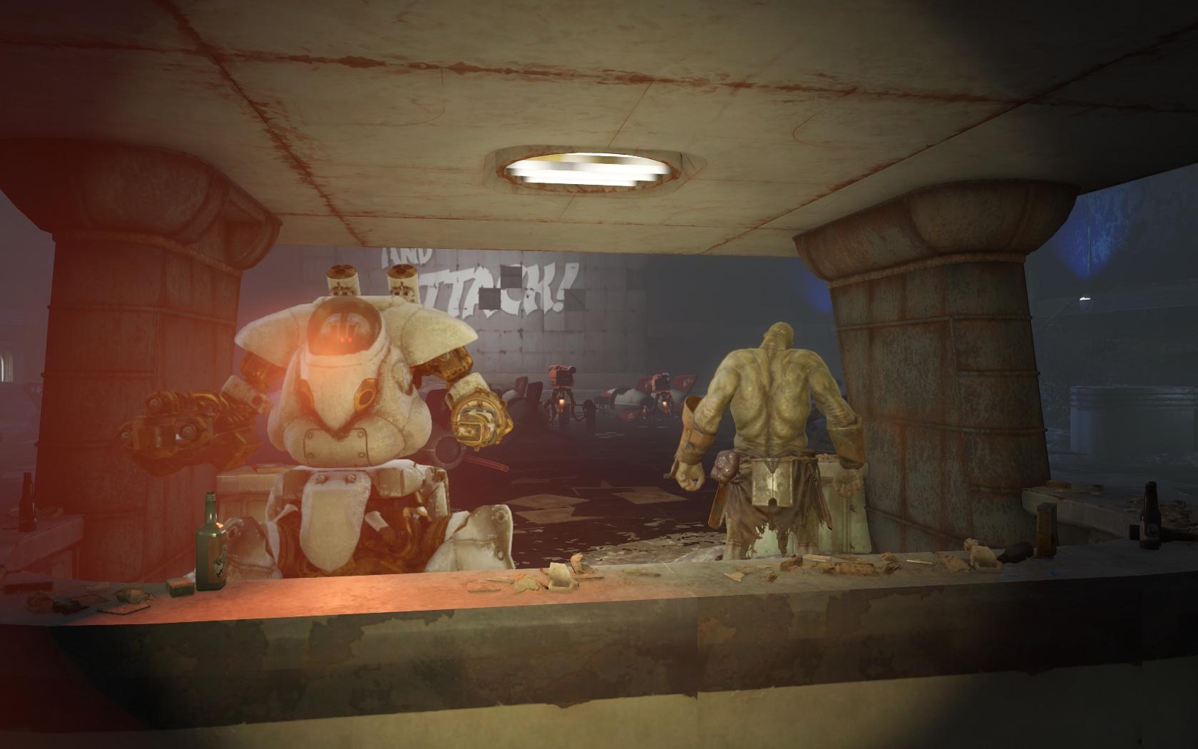 Дружелюбный Звёздный бармен, если зачистить Галактику слишком рано (Ядер-Мир, Кинотеатр Звёздный свет) - Fallout 4 Nuka World, Звёздный бармен, Кинотеатр Звёздный свет, робот, Силач, Ядер-Мир