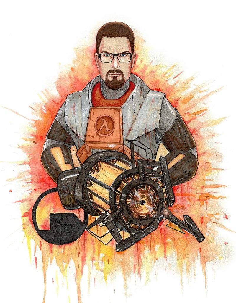 Держите меня семеро! - Half-Life 2 Арт, Гордон Фримен, оружие, очки, персонаж