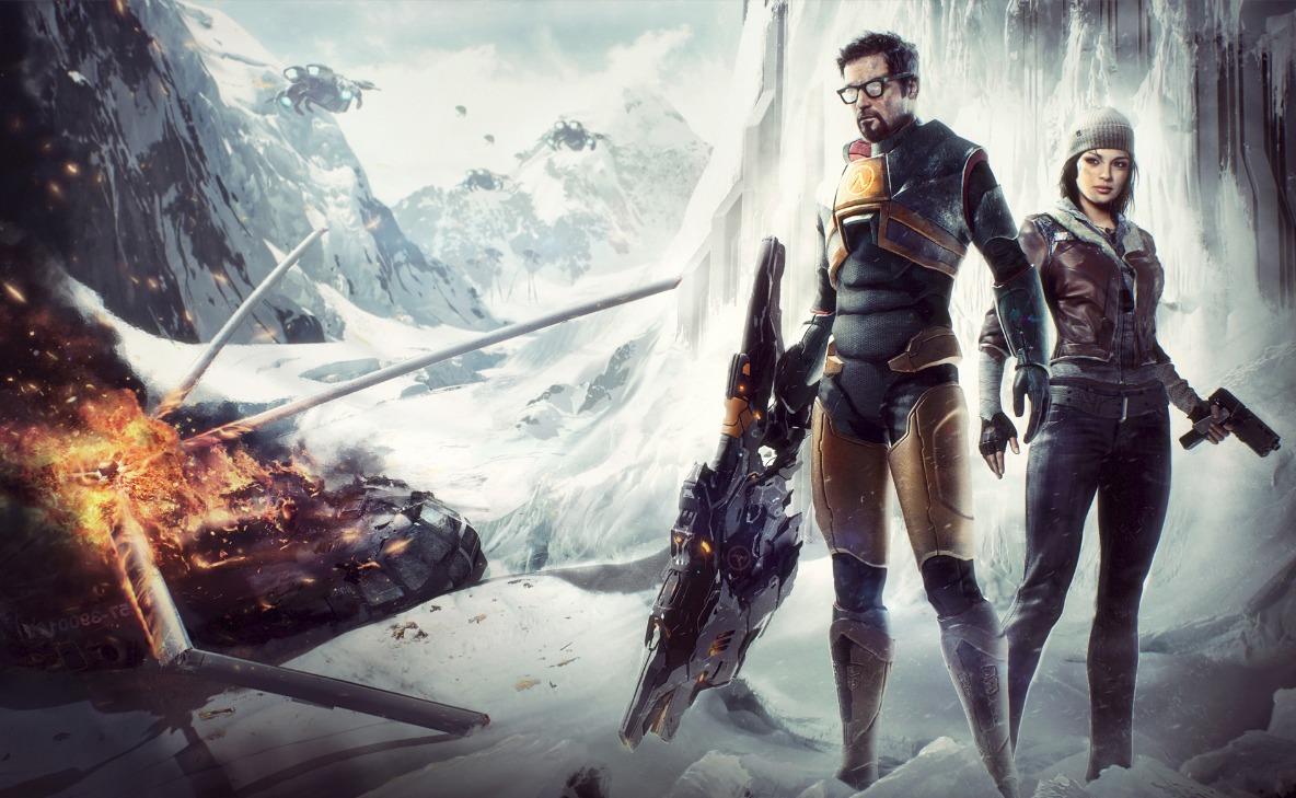 Гордон и Аликс - Half-Life 2 Аликс Вэнс, арт, вертолет, Гордон Фримен, напарники, персонаж