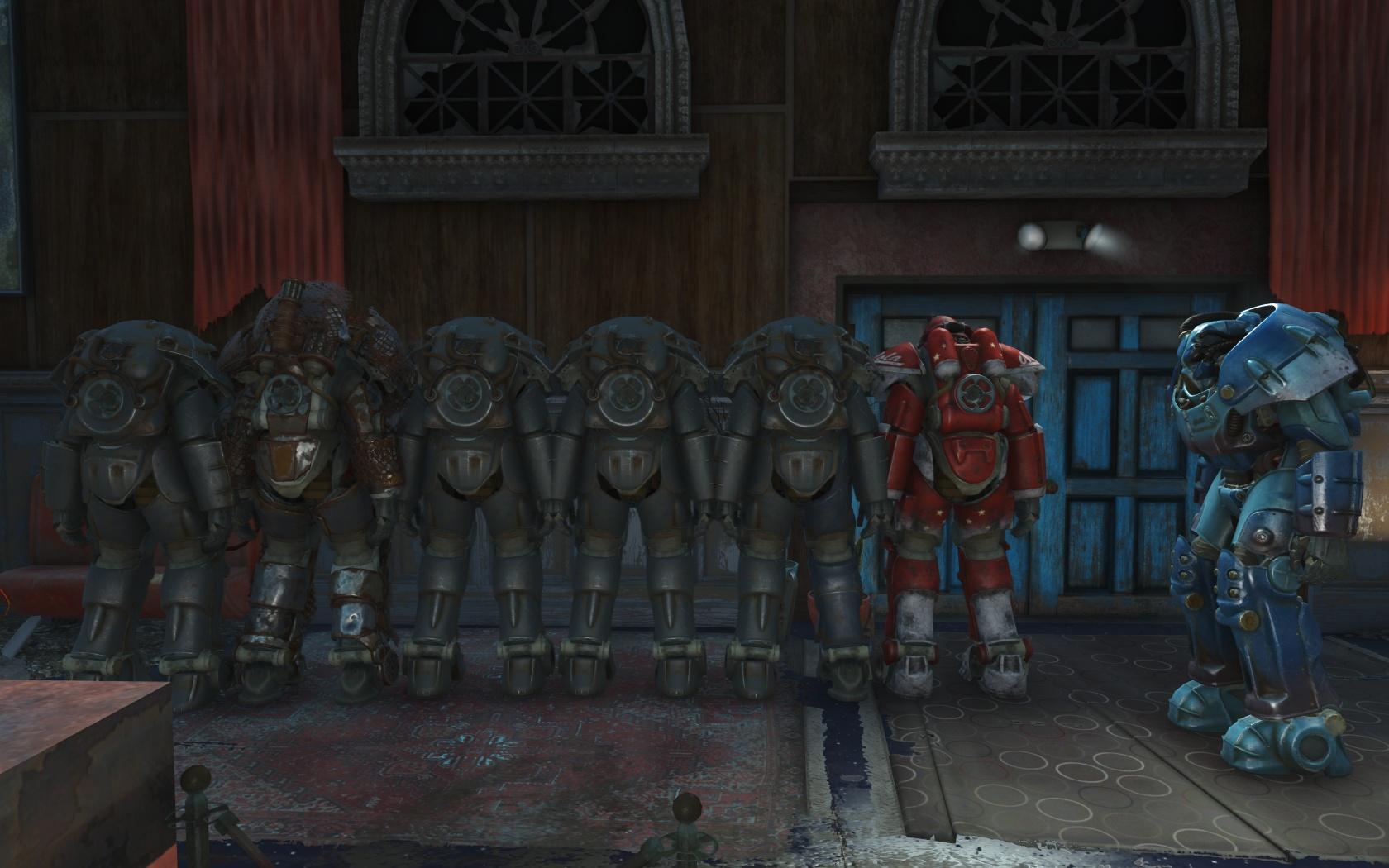 Вся силовая броня из Ядер-Мира (Ядер-Мир, Гриль-бар Физзтоп) - Fallout 4 Nuka World, броня, Гриль-бар, Гриль-бар Физзтоп, силовая, Физзтоп, Ядер-Мир