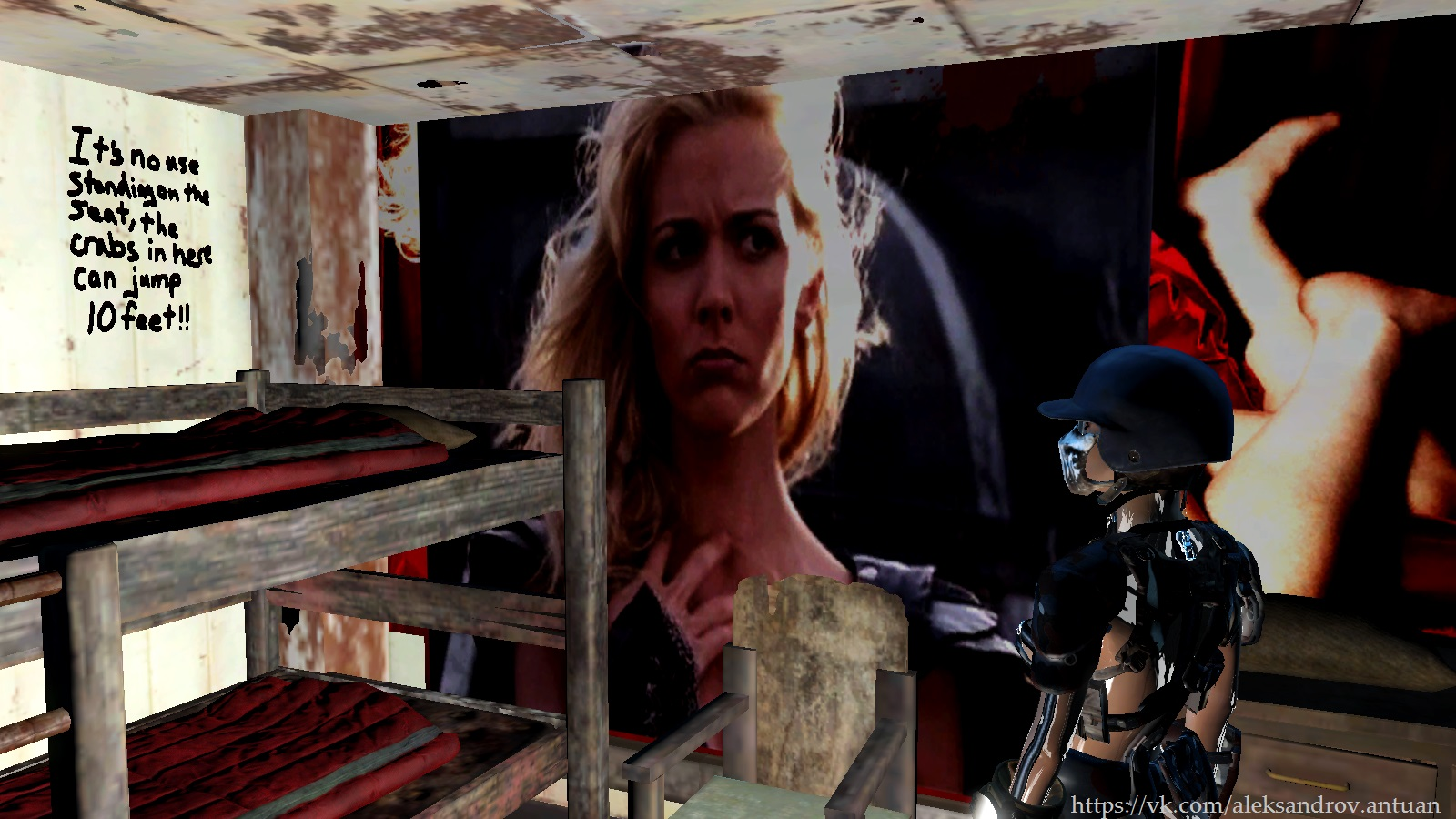 Светёлка типичного Поселенца. - Fallout 4 Hudson Leick, Thematic and Practical, Zipsuit, Бейсбольный шлем, двухъярусная кровать, картина, Костюм-молния, Хадсон Лейк